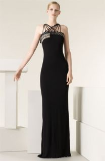 Jean Paul Gaultier Embroidered Multi Strap Jersey Gown