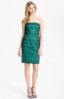 Adrianna Papell Strapless Sequin & Lace Sheath Dress