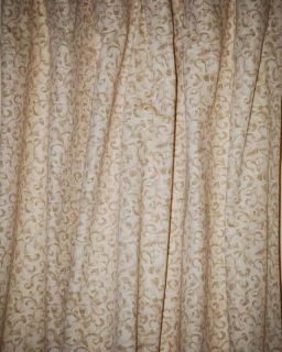 CLOSEOUT Flat Casual Custom Made Cream Gold Swirl Drapes 1 Pair
