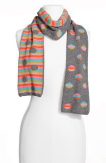 Stripe Dot Reversible Wool Blend Scarf
