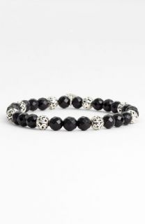 Lois Hill Onyx & Silver Bead Stretch Bracelet