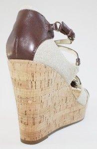 Womens Michael Kors Cyndi Wedge Platform Sandal Heels Leather Linen