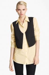Donna Karan Collection Paper Cotton Shirt with Attached Vest