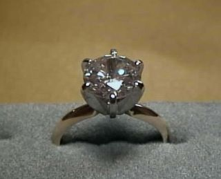 CZ Cubic Zirconia Solitaire Ring 2 Carat 6 prong 14K Yellow Gold