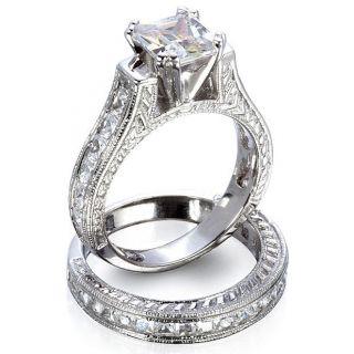 Sterling Silver Princess Cut CZ Wedding Ring Bridal Band Set size 5