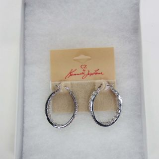 CZ by Kenneth Jay Lane Clear Double Row Hoop Earrings Rtl $200 00 Jmto