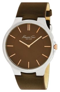 Kenneth Cole New York Round Dial Leather Strap Watch