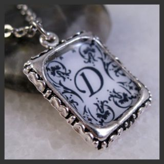 Flower Initial Letter D Vintage Silver Square Setting Charm Pendant