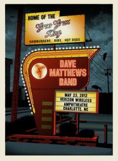 Dave Matthews Band Poster 2012 Charlotte North Carolina 500 RARE