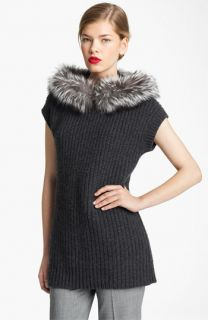 Michael Kors Genuine Fox Fur Trim Hooded Sweater