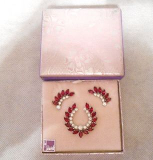Vintage B David Ruby Red & Clear Rhinestone Brooch/Pin & Clip Earrings