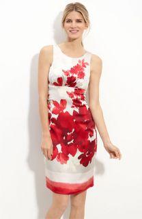 Donna Ricco Floral Stretch Satin Sheath Dress