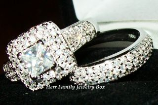 White Gold 925 Sterling Silver Princess Cut CZ Wedding Ring Band Set