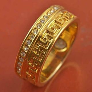 All Around CZ 9K Real Gold Filled Mens Unisex Band Ring Size 9 F281