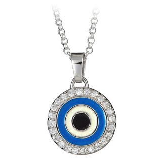 Sterling Silver CZ Round Blue Evil Eye Pendant on 18 Chain Necklace