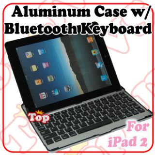 Black Aluminum Cover Case with Bluetooth Wiresless Keyboard For Apple