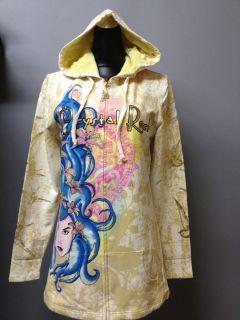 200 NWT Christian Audigier Crystal Rock Womens Hoodie shirt jacket ed