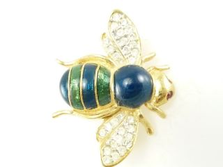 Gold Tone Enamel Crystal Rhinestone Bumble Bee Fly Insect Brooch Pin R