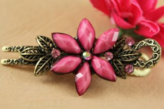 Top Quality Rhinestone Crystal Bright pink Flower Hairpin Hair clips
