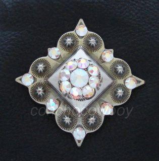 Western Antique Silver Crystal Rhinestone Concho 1