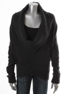 Michael Stars New Gray Wool Cable Knit Deep Cowl Neck Pullover Sweater