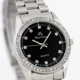 Unisex Mens Lady Luxury Crystal Wrist Watch Stainless Steel Black Dial