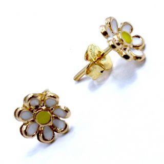 Gold 18K GF Earrings Little Daisy Flower Baby Girl Infants White