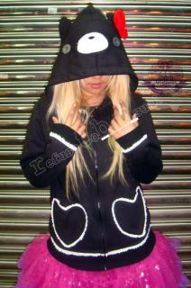 Kera Punk Gloomy Face Hooded Kill Bear Cub Parka Jacket