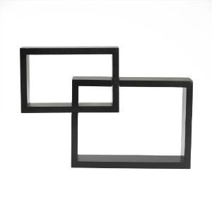 Set of 2 Square Cube Wall Mounted Wood Shelves Shelf