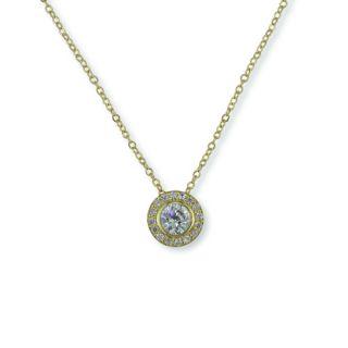 Ct Cubic Zirconia Gold EP Solitaire Pendant Necklace