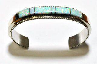 Navajo Opal Inlay Sterling Silver Cuff Bracelet   Fran Yazzie