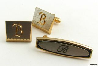 Initial B Cuff Links & Tie Bar Clip Set   Vintage Mens Fashion Estate