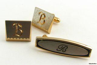 Initial B Cuff Links & Tie Bar Clip Set   Vintage Mens Fashion Estate