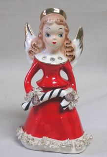 Vintage Christmas Bell Gorgeous Norcrest Angel in Red Gold Rhinestones