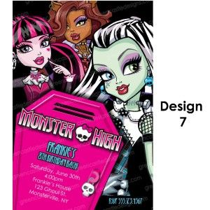 Monster High Invitations 20 Birthday Party Invites Envelopes Custom