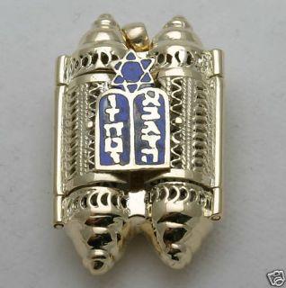 yellow gold filigree Torah pendant locket blue enamel Star of David