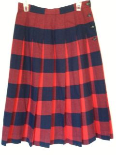 DAVID BROOKS Wool Plaid Pleated SKIRT Red Navy Blue 100% Wool Womens
