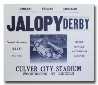 1950 Culver City Stadium Jalopy Derby Racing Poster 50s Limited