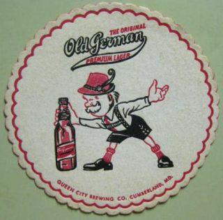 Old German Beer Coaster Black Pants Cumberland Maryland