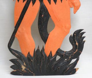 Vintage Halloween Tall Germany Devil Satan Diecut Heavily Embossed