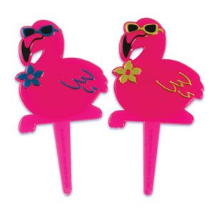 Luau Flamingos Cupcake Picks Cake Decorations Toppers