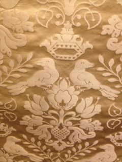 Scalamandre Fabric Old Ivory Damask Love Birds 1 Yard
