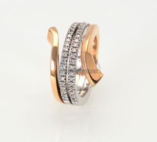 Damiani 18K Rose White Gold Diamond Split Band Ring