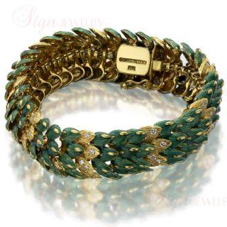 DAVID WEBB Green Enamel Diamond 18k Yellow Gold Snake Bracelet