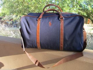 RALPH LAUREN POLO PONY NAVY BLUE DUFFLE WEEKEND TRAVEL GYM BAG NEW