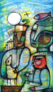 Dan Casado Outsider Folk Art Canvas The Moon Original Collage Painting