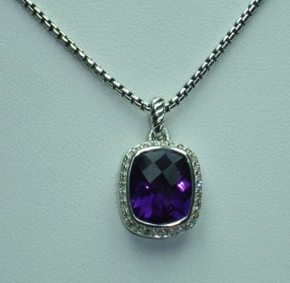 David Yurman Amethyst Noblesse Pave Diamond Necklace