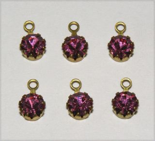 Vintage Swarovski Rhinestone Dangle Bead Drop Rose Pink