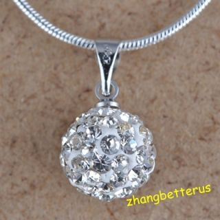 Austrian White Crystal Pave Disco Ball Beads Necklace Pendants Charms
