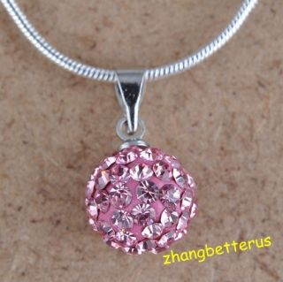 Austrian Pink Crystal Pave Disco Ball Beads Necklace Pendants Charms
